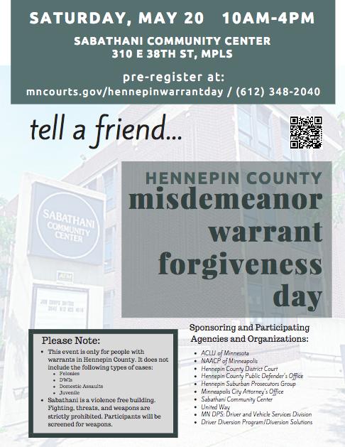 Hennepin County Misdemeanor Warrant Forgiveness Day - Minnesota ...