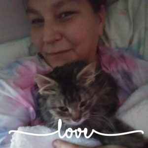 "Woman holding a grey kitten, word ""love"" written across photo"