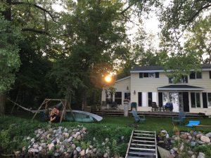 Backyard scene and sunset