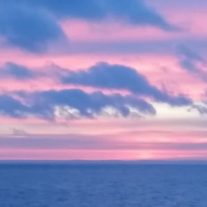 Pink and blue sunrise over lake superior